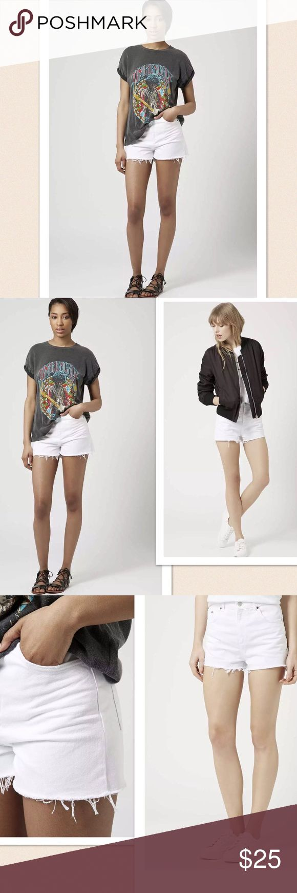 """🆕 Mom Topshop Moto High waist Denim Shorts 🆕 Mom Topshop High waist Denim Shorts. Cut off design. Size: 14. Seam: 1.5"""", length: 12.5"""", rise: 12.5"""". Color: White. 🆕 without tag. Topshop Shorts"""