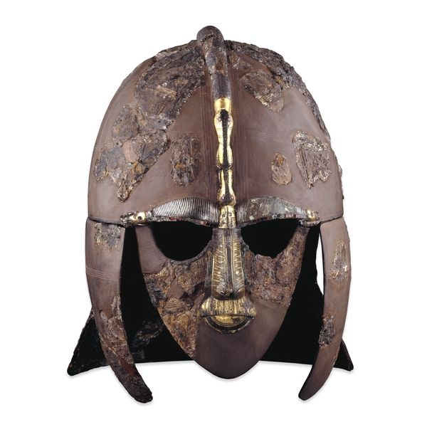 Sutton Hoo ship-burial helmet https://www.britishmuseum.org/explore/galleries/europe/gallery_41_europe_ad_300-1100.aspx