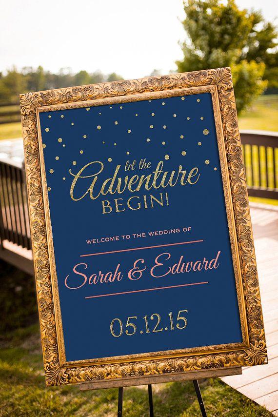 Matrimonio segno stampabile Gold Wedding Decor di nelladesigns