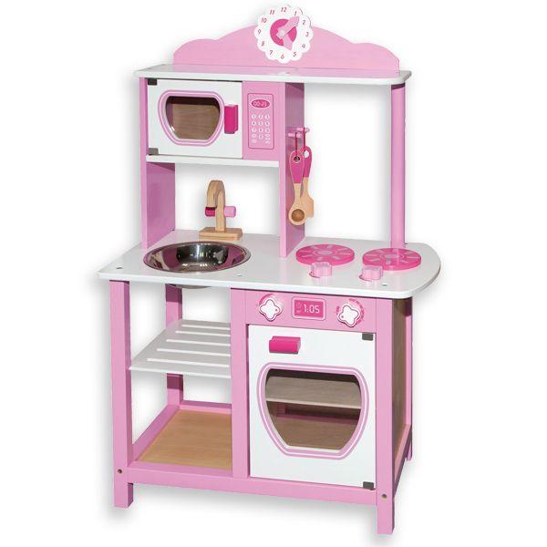 Preciosa cocina rosa Andreu Toys de madera. Esta cocina tiene fregadero, horno, microondas, reloj analógico y dos utensilios de cocina. Para niños de más de 3 años. Este juguete educativo fomenta la imaginación y la socialización.