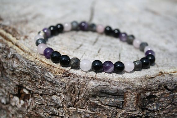Loving and Calming, Protection Bracelet:  Black Onyx, Larvikite, Amethyst, Rose Quartz. Genuine Power Stones Juzu mala Bracelet.