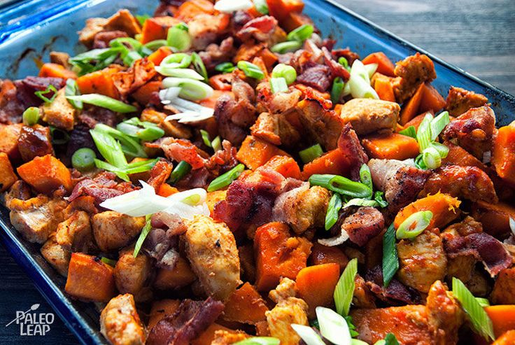 Sweet Potato Buffalo Chicken Casserole - Make sure to use the olive oil (not ghee), Frank's Hot Sauce Original, and turkey bacon. I've made it more savory by using marinara and no bacon:-)