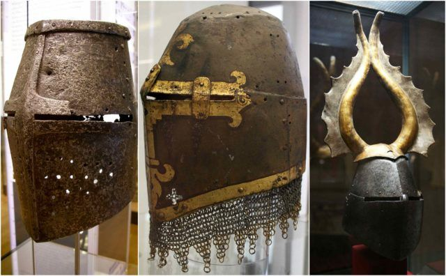 Surviving examples of the great helm- helmet of the High Middle Ages