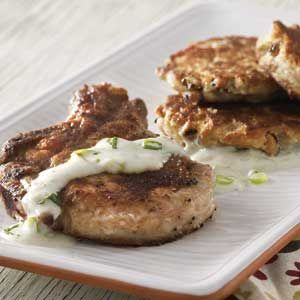 Pan-Sauced Pork Chops With Black-Eyed Pea Cakes