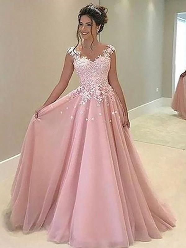 Fitted Prom Dress, A-Line/Princess Sweetheart Sleeveless Floor-Length Applique Tulle Dresses YB33PO1099