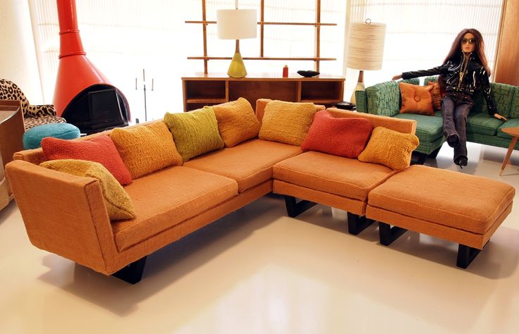 Morrison's Furniture Studio--Cool Sectional sofas, and great free standing fireplace