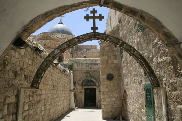"Via Dolorosa (Jerusalem, Israel):     Via Dolorosa (""Way of Grief"" in Latin) is a road in the old city of Jerusalem, a path where Jesus was lead in agony, carrying the crucifixion cross.  There are a total of 14 stations along this path."