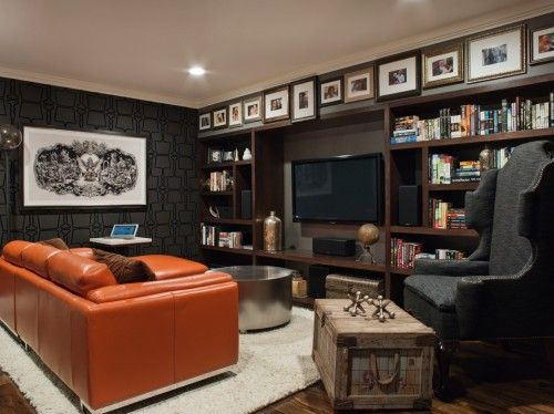 """I love how a """"frieze"""" is created on the furr down above the bookcases . . . the horizontal banding or border."""