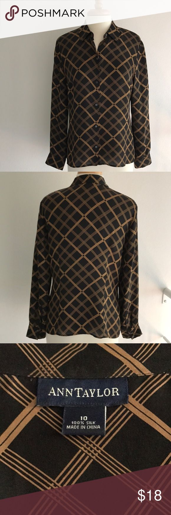 "Ann Taylor Silk Black/Camel Women's Blouse Ann Taylor black/camel silk button front blouse ~ perfect with or without jacket / sweater ~ great condition ~ dry clean   Measurements ~ approx laying flat: Armpit to armpit ~ 20"" Length from front shoulder ~ 24.5"" Sleeve from shoulder ~ 24"" Ann Taylor Tops Blouses"