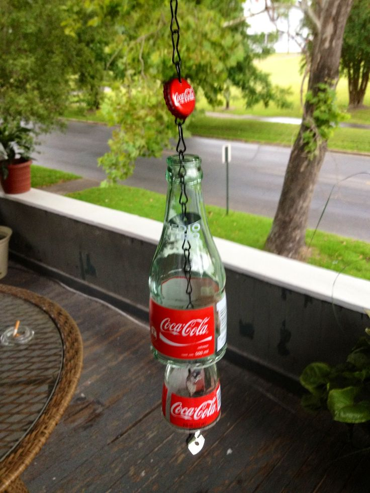 Coke bottle wind chime ~ my son is going to make this for me!