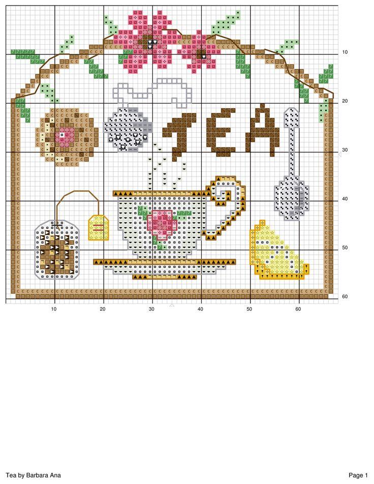 Chá, xícara, ponto cruz
