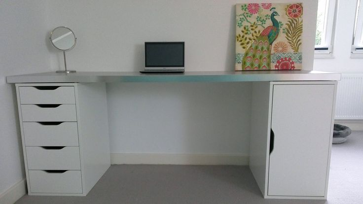 "My own ""Ikea Hack!"" I needed extra long desks for my each"