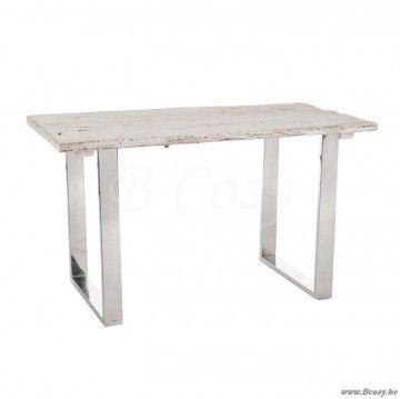 J-Line Bureautafel rechthoekig metaal-wit hout en glazen blad 130