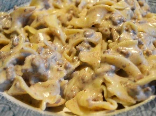 Ground Beef Stroganoff #mushrooms #mushroom #noodle #hamburger #cream-cheese #sour cream #ground #egg noodles #cream soup #beef #pasta #justapinchrecipes