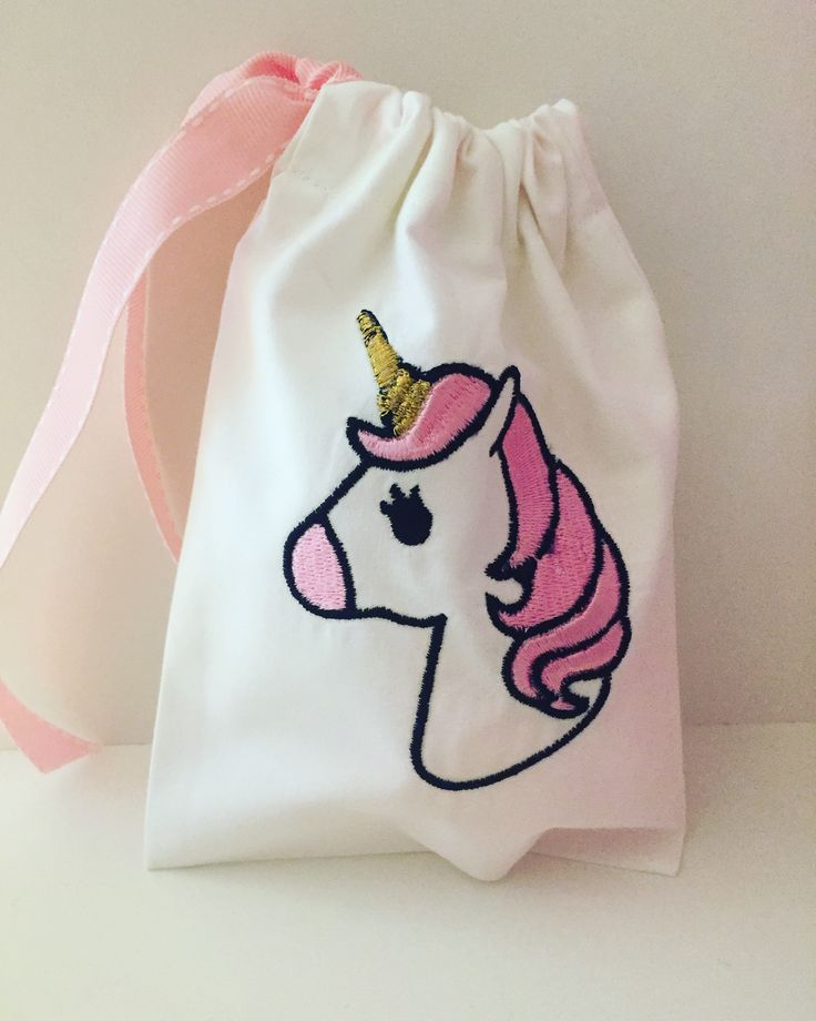 embroidered unicorn pouch for christenings and party favors by cottonprince.gr