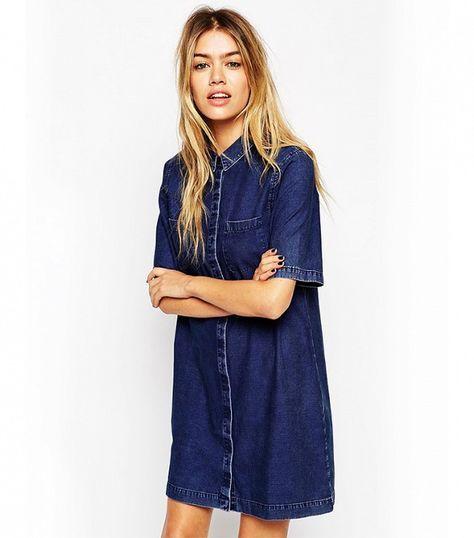ASOS Denim Shirt Dress with Patch Pocket in Dark Wash Blue