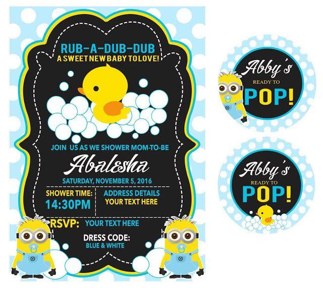 Minion / Duck baby shower invite
