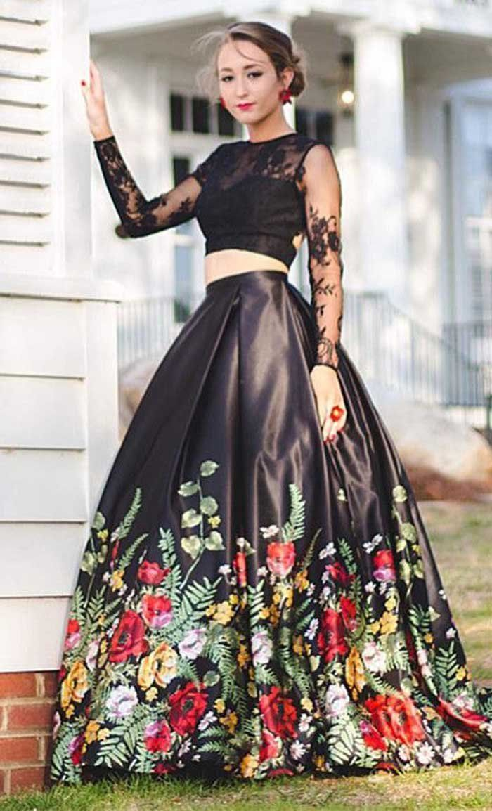 Popular Two Pieces Long Sleeves Open Back Long Prom Dresses With Flowers Pt110 Prom Muse Promdress Promdres Prom Dress Plus Size Prom Dresses Long Dresses [ 1154 x 700 Pixel ]