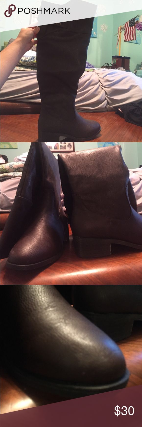 Fall riding boots from Modcloth! Perfect boots for the fall. Over the knee. Barely any signs of wear (see pictures). Wide-calf boot. Comes in original box. Modcloth Shoes Over the Knee Boots