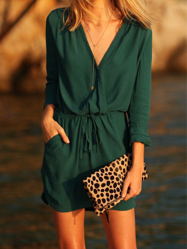 Kleid V-Ausschnitt mit Tunnelzug und Taschen-grün- German SheIn(Sheinside)