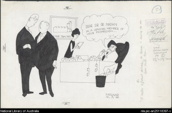 Molnar, George, 1910-1998. 'A matter of the utmost delicacy - Mr Hughes is choosing the new Opera House team.' [picture]