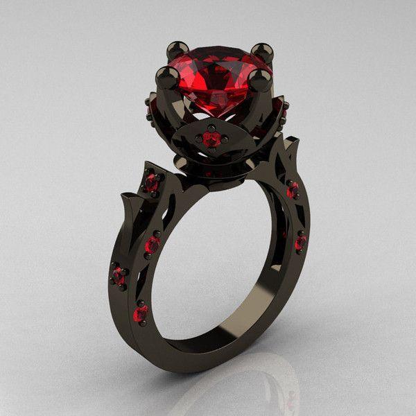 modern antique 14k black gold 30 carat ruby solitaire wedding ring 2059 - Badass Wedding Rings