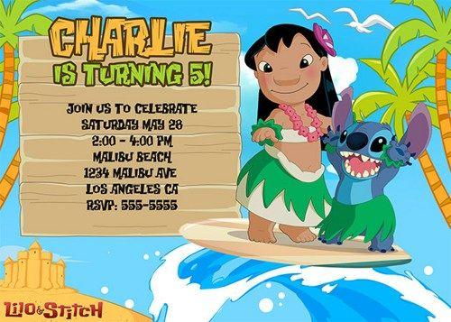Lilo & Stitch Birthday Invitations / Birthday Party card ...
