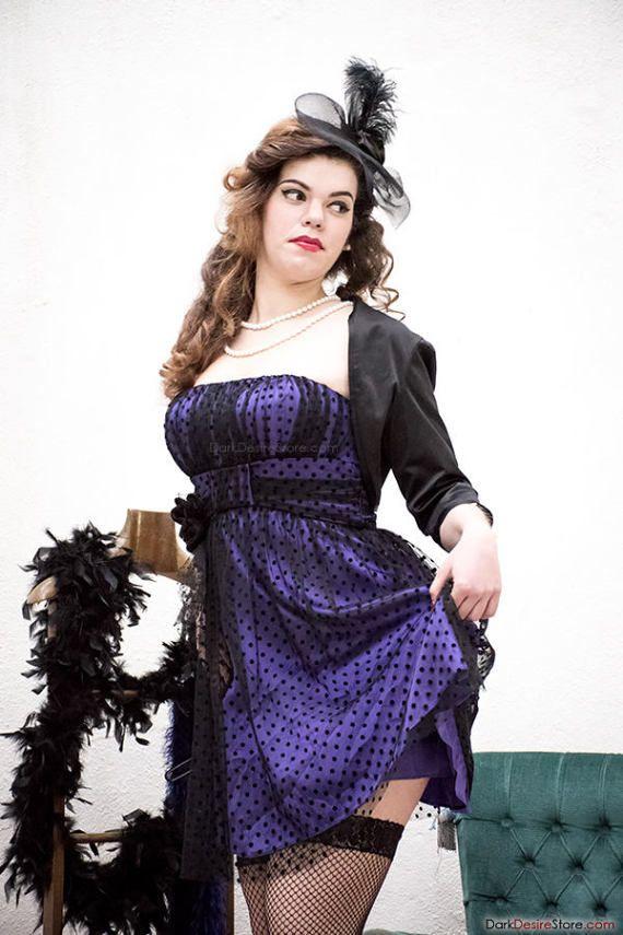 Purple Cocktail Dress Vintage Rockabilly by DarkDesireStore