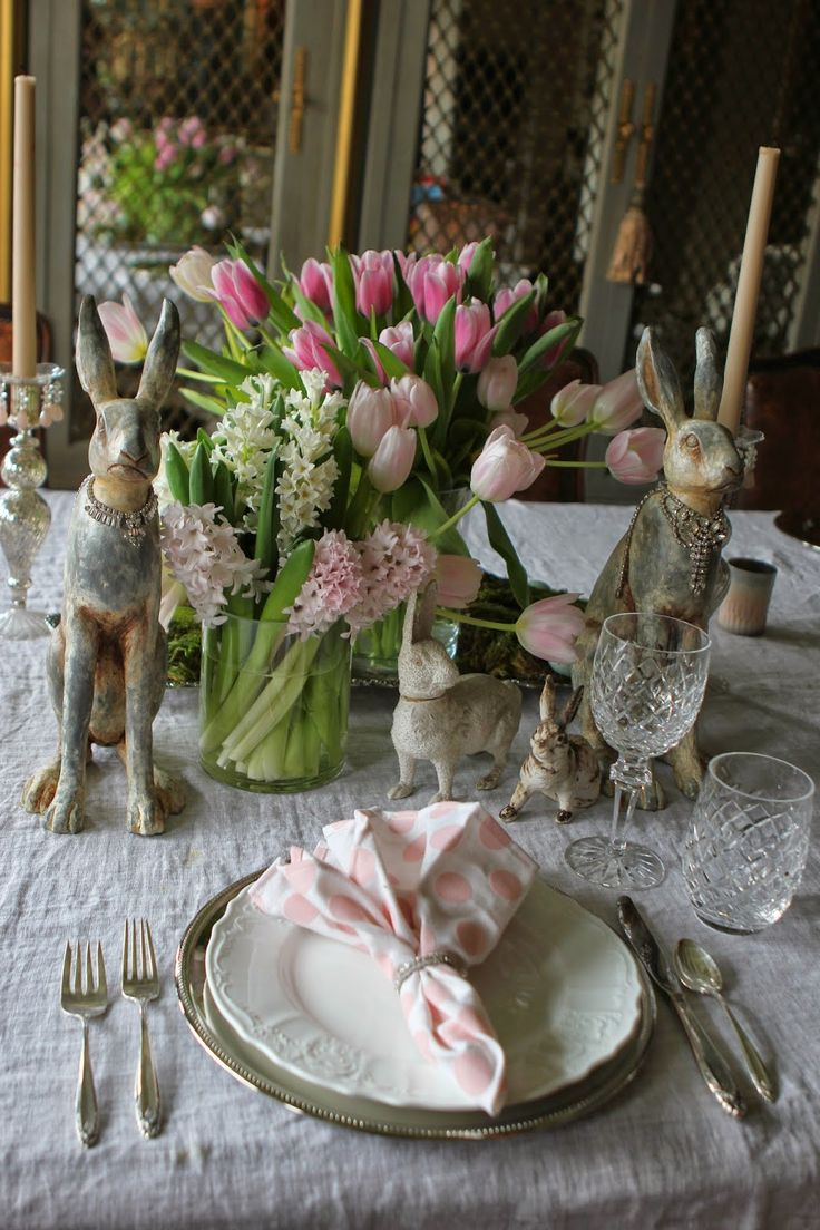 Easter Table Decor With Pink Tulips, White Hyacinths, Bunnies And Pink  Checked Napkins