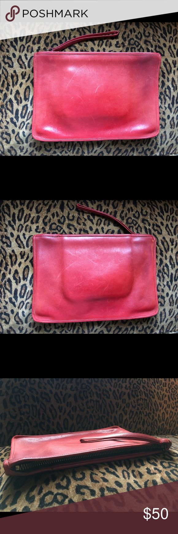 Vintage Red Coach Clutch Red leather Coach clutch, in good vintage condition. Coach Bags Clutches & Wristlets