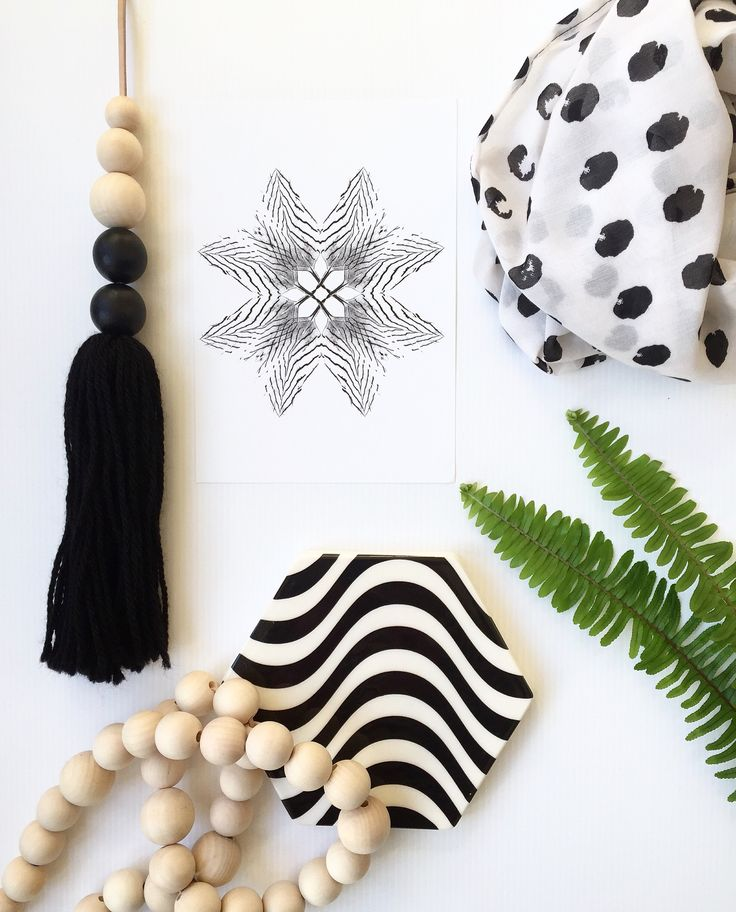Luxe Scandi wooden bead and leather garland and Tassel