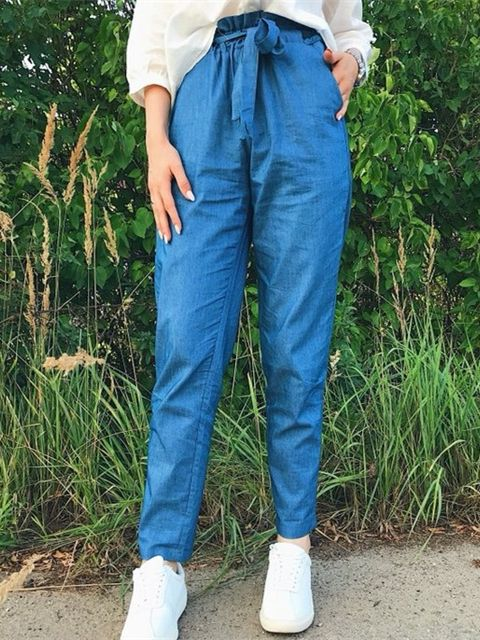 7835d4606a #SHEIN Blue Weekend Casual Belted Ruffle Mid Waist Straight Leg Solid Pants