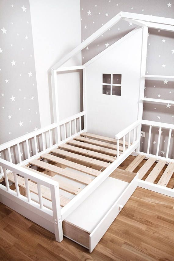 Montessori L Shape Nook House Bed With Drawer Amenagement