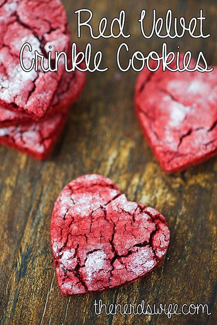 Red Velvet Crinkle Cookies cut out as hearts for Valentine's Day!