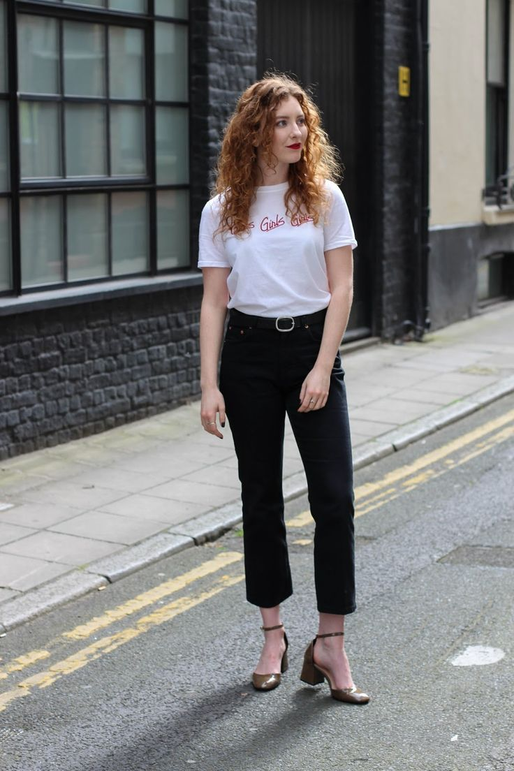Girls Girls Girls - Spring casual outfit, Topshop white tee, & Other Stories cropped flared black jeans, Zara mary-janes heels