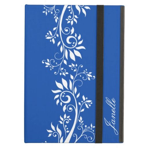 Dazzling Blue and White Floral Swirls iPad Air #pantone2014 #dazzlingblue #ipadaircases #floral #swirls #zazzle