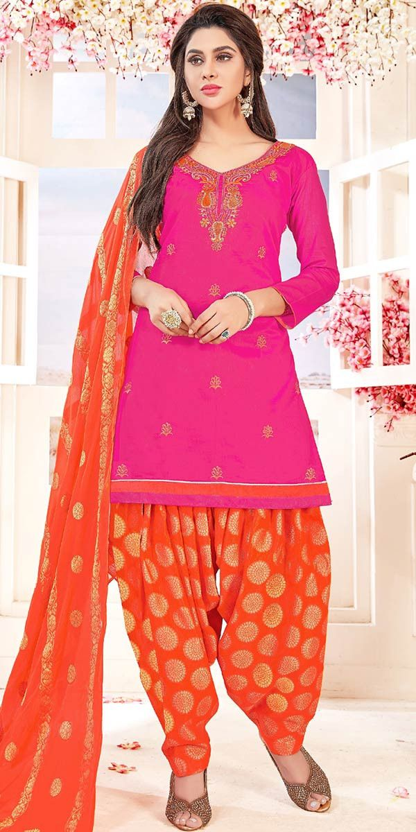 c6678b9950 Pretty Pink And Orange Cotton Patiala Suit. | Salwar Kammez ...