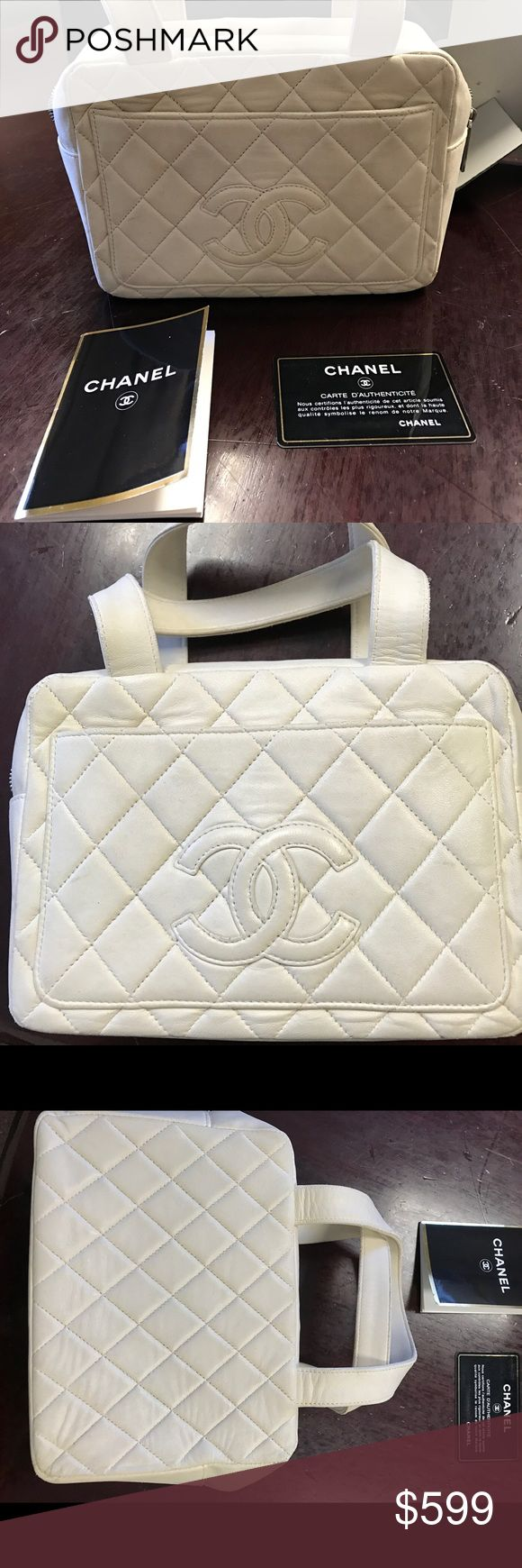 Cute Chanel Handbag This is the cutest little bag. Authentic Chanel off white/bone. In good used condition. Inside zip pocket. Comes with card, booklet and box. Perfect size for phone, keys, cards and more!  There is some dirt and wear on the bag. Please look at photos. Priced for quick sale. Trade value is $900. CHANEL Bags