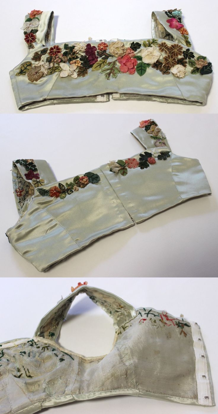 """regency Silk Satin Evening Bodice with Silk Flowers, circa 1800-1820 via eBay 