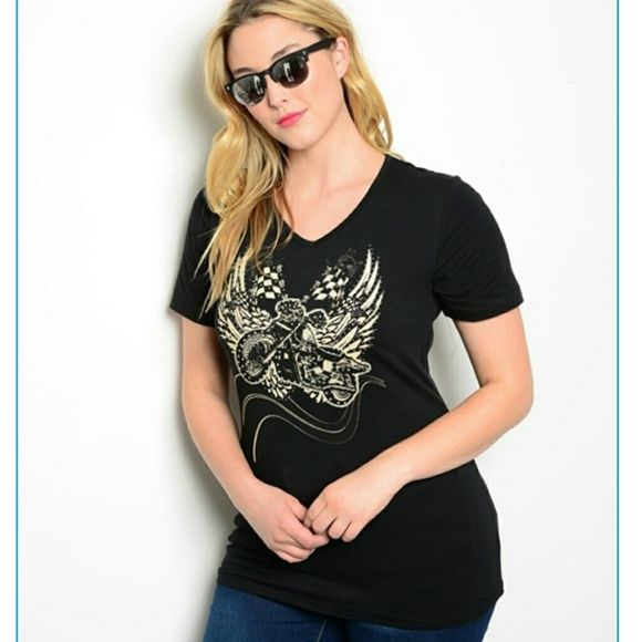 "Plus size tattoo tshirt top lace cutout shredded Lightweight weight Stretchy fabric. *Not loose fitting . sublimation tattoo print. Shredded cutout back with zipper closure. short sleeves. MEASUREMENTs: Fabric Content: 95% COTTON 5% SPANDEX Measurements taken from 1X side by side- unstrected  (Lenght: 30"") (pit to pit : 19"") - (Waist= 18"") -( Hem 21"") Boutique  Tops"