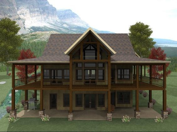 Max Fulbright's Banner Elk is a Lakefront House Plan with a wraparound porch that allows you to enjoy the views of your lot from all sides of the home.