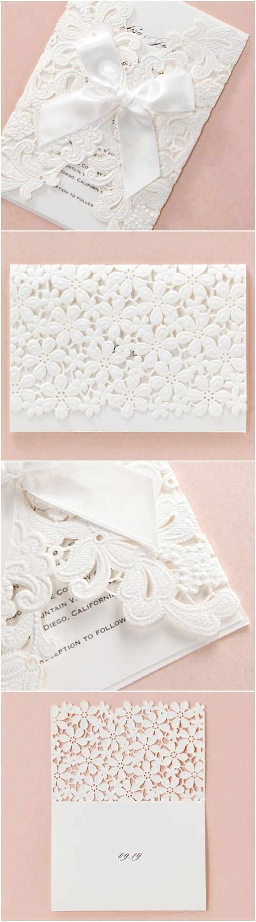 wedding lace embossed lasercut wedding stationery by B Wedding Invitations