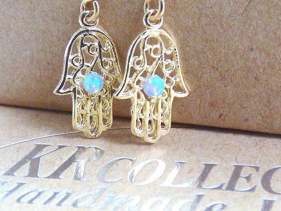 Hamsa Ohrringe Gold Opal Ohrringe Ohrringe Gold von KRcollection