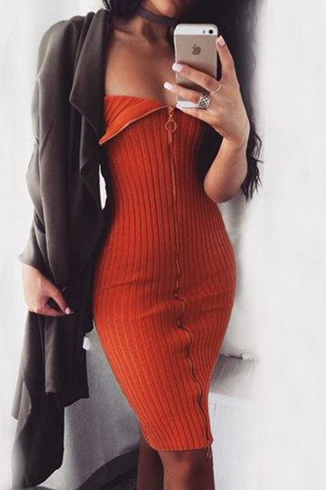 Tangerine Tube Top Zip Front Fastening Mini Dress