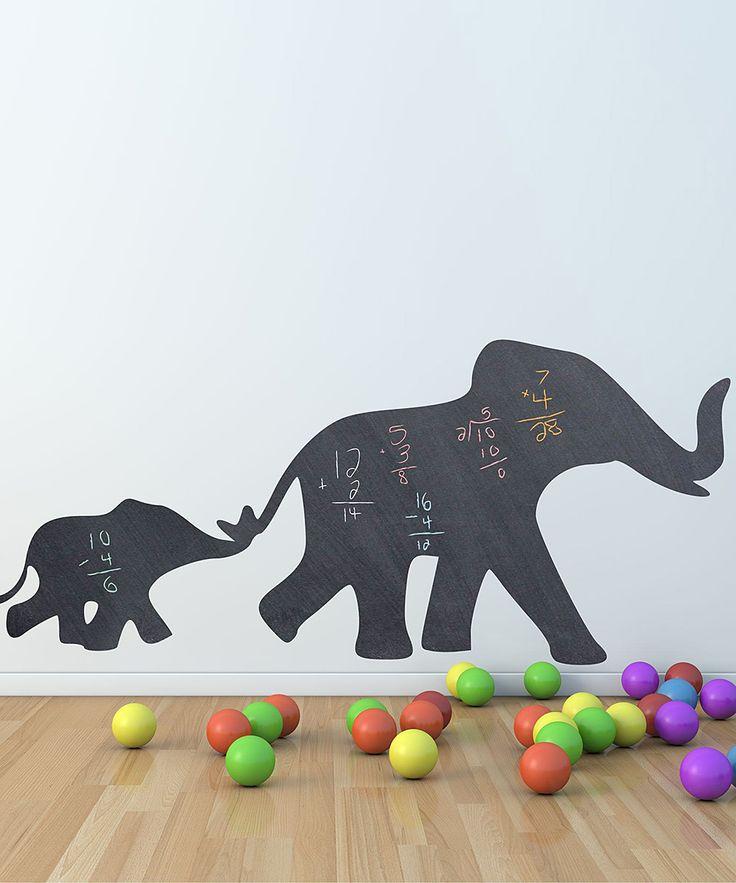 Mom & Baby Elephant Chalkboard Wall Decal