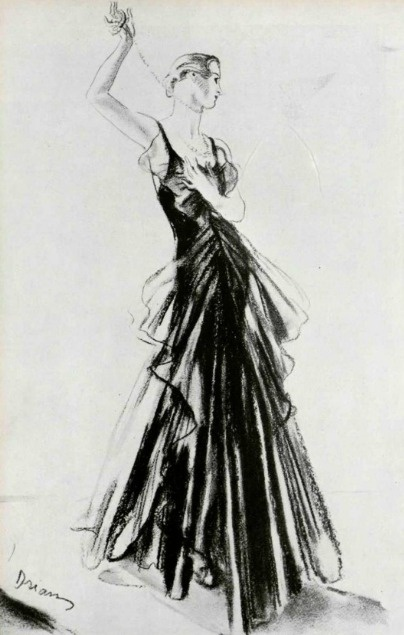 Chanel Couture Gown Illustration - 1932 - Black velvet adorned with black tulle - @~ Mlle