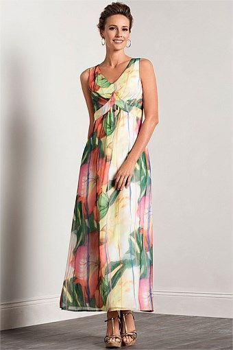 Grace Hill Print Maxi Dress. A bit mother-of-the-bride-ish, but the fabric is lovely, fully lined around the bust area, fabric falls in all the right places...