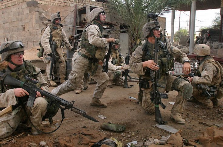 United States marines with bayonets fixed in Fallujah, Iraq
