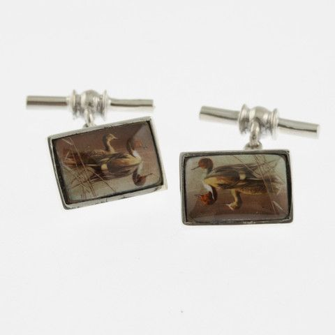 Vintage style sterling silver cufflinks with two ducks swimming through reeds