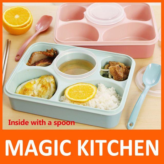 Mágikus Konyha 5 plusz 1 Sealed mikrózható Ebéd doboz kanállal bento doboz…